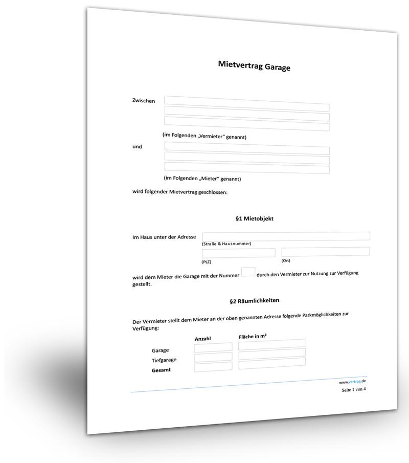 Mietvertrag Garage Stellplatz Muster Download