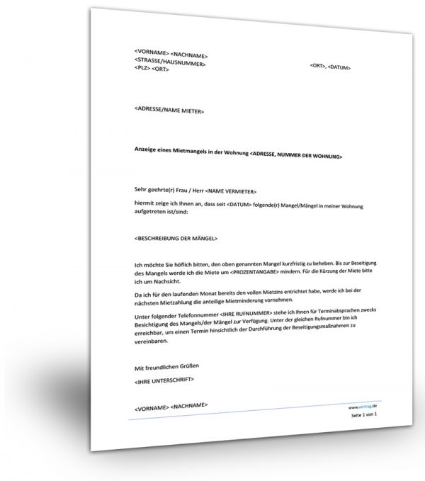 Mietminderung Musterbrief