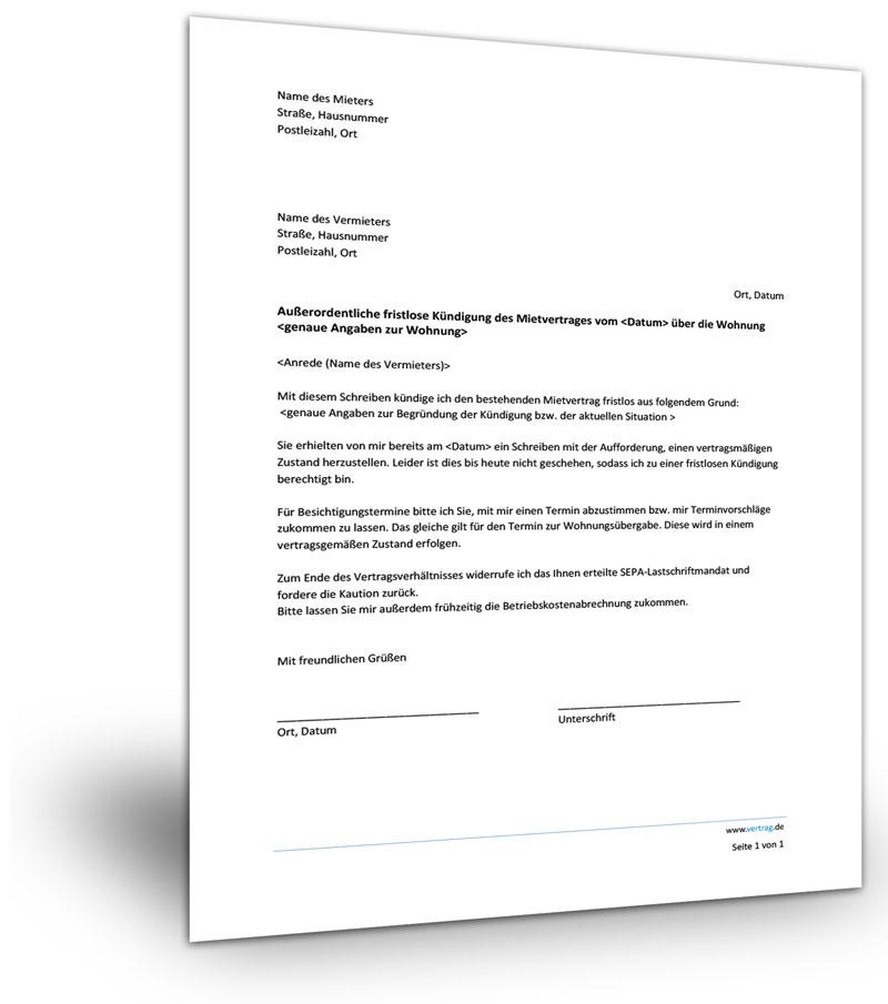 Widerspruch Mietvertrag