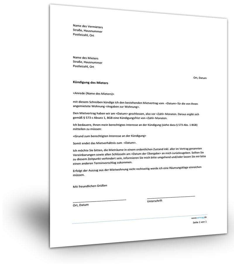 Kündigung Mietwohnung Vermieter Mieter Muster Download